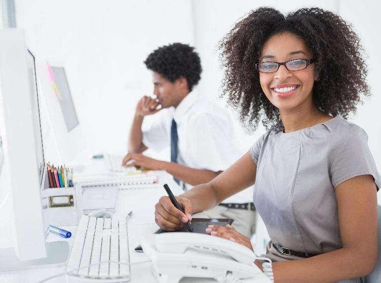 Woman Sitting Near Computer | Lawyer Schaumburg IL